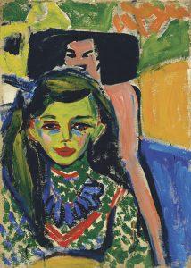 Franzi davant una cadira tallada - Ernst Ludwig Kirchner